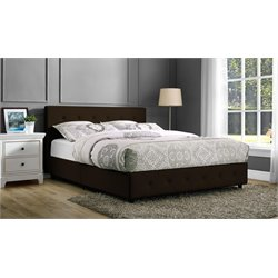 Upholstered Faux Leather Queen Bed in Brown
