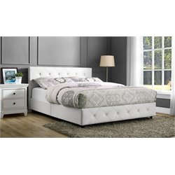 Upholstered Faux Leather Queen Bed in White