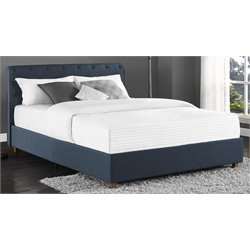 Linen Upholstered Full Panel Bed in Navy