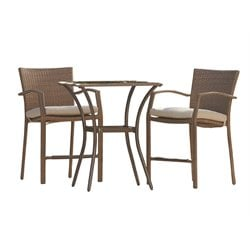 Outdoor Steel Wicker High Top Patio Bistro Set