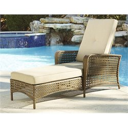 Outdoor Steel Wicker Patio Chaise Lounge in Brown