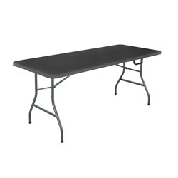 6' Centerfold Blow Molded Folding Table in Black