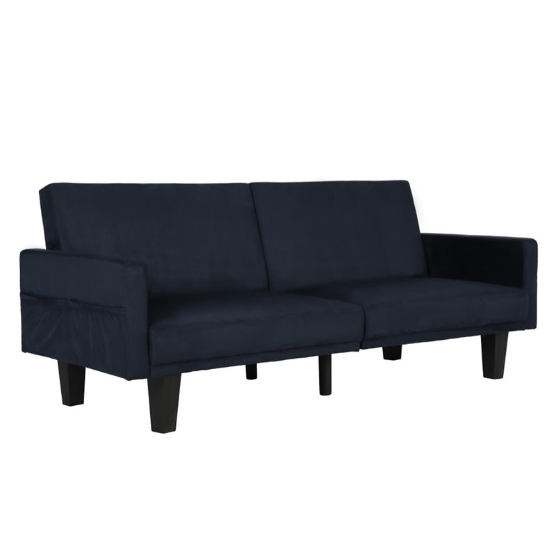 Split Microfiber Convertible Sofa In Navy Blue 2130619
