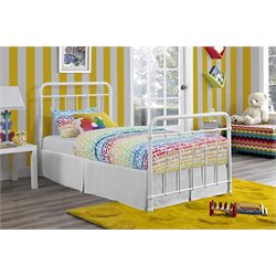 Iron Twin Bed in White