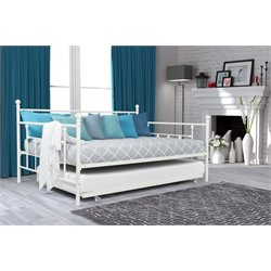 Full Size Metal Daybed with Twin Size Trundle in White