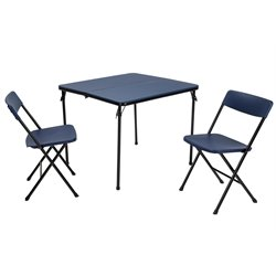 3 Piece Folding Table Set with Chairs in Dark Blue and Black