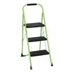 3 Step Folding Step Stool in Green