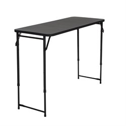 20'' x 48'' Height Adjustable Folding Table in Black