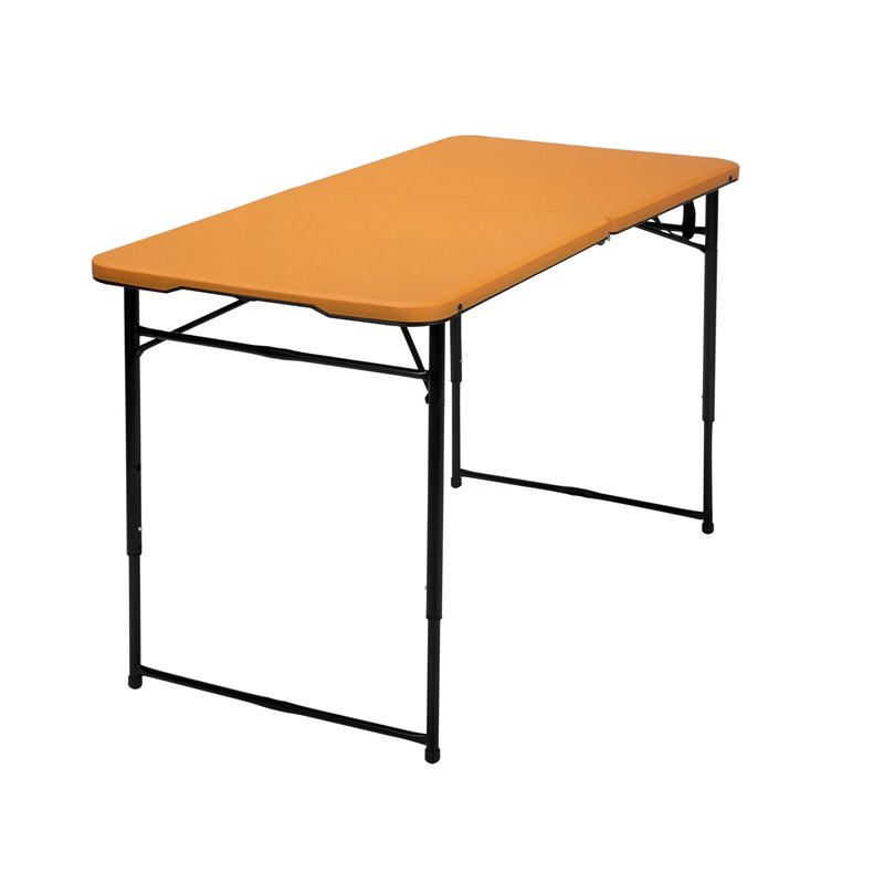 4 39 height adjustable folding table in orange 14402onb1e - Camping table adjustable height ...