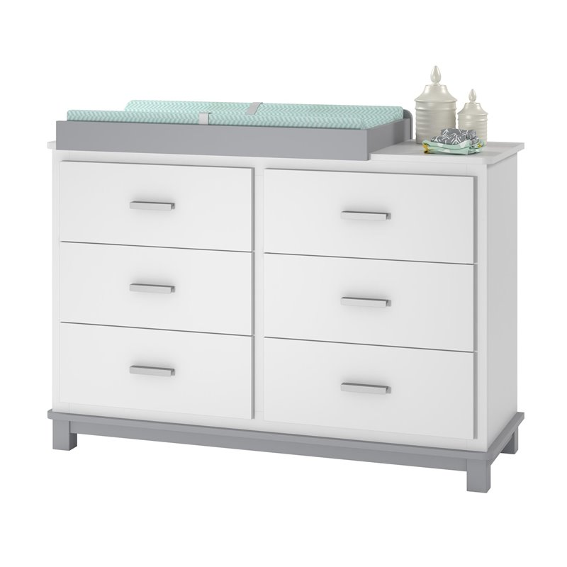 6 drawer dresser changing table in white and gray 5925321com. Black Bedroom Furniture Sets. Home Design Ideas