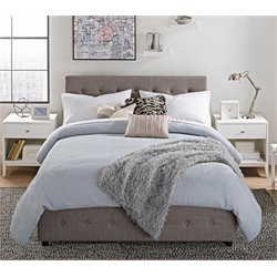 Platform Full Bed with Storage in Gray