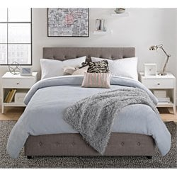 Platform Queen Bed with Storage in Gray