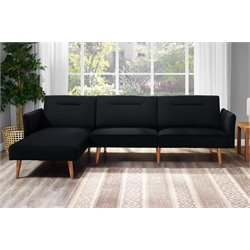 Convertible Sectional in Black Linen