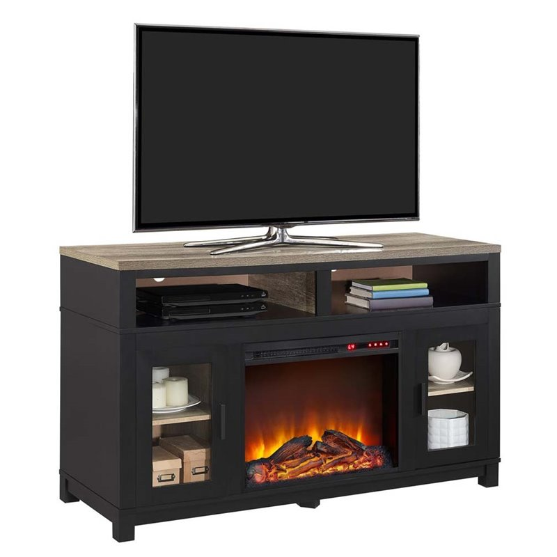 Restroom Furniture Electric Fireplace TV Stand in Black - 1774196COM