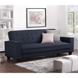 Laptop Tray Convertible Sofa in Navy