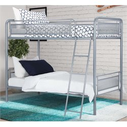 Twin over Twin Metal Bunk Bed in Silver