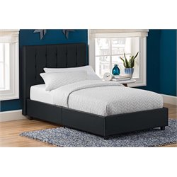 Faux Leather Upholstered Twin Bed in Black