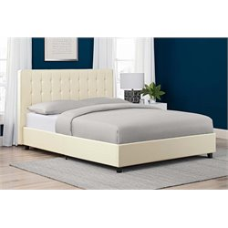 Faux Leather Upholstered Queen Bed in Vanilla