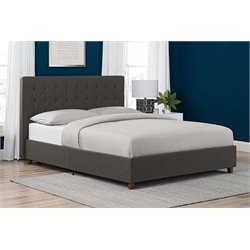 Linen Upholstered Queen Bed in Gray
