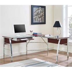 Glass Top L Shaped Computer Desk in Cherry