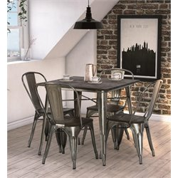 DHP Fusion 5 Piece Square Dining Set in Antique Gun Metal