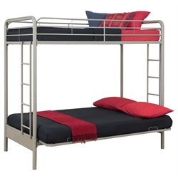 DHP Twin over Full Convertible Futon Bunk Bed with Mattress in Silver