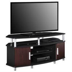 Ameriwood Home Carson 50'' Corner TV Stand in Black and Cherry