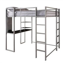 Metal Full Loft Bed in Silver with Desk