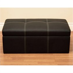Faux Leather Storage Ottoman Bench in Black