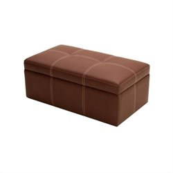 Faux Leather Storage Ottoman Bench in Coffee Brown