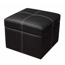 Faux Leather Storage Cube Ottoman in Black