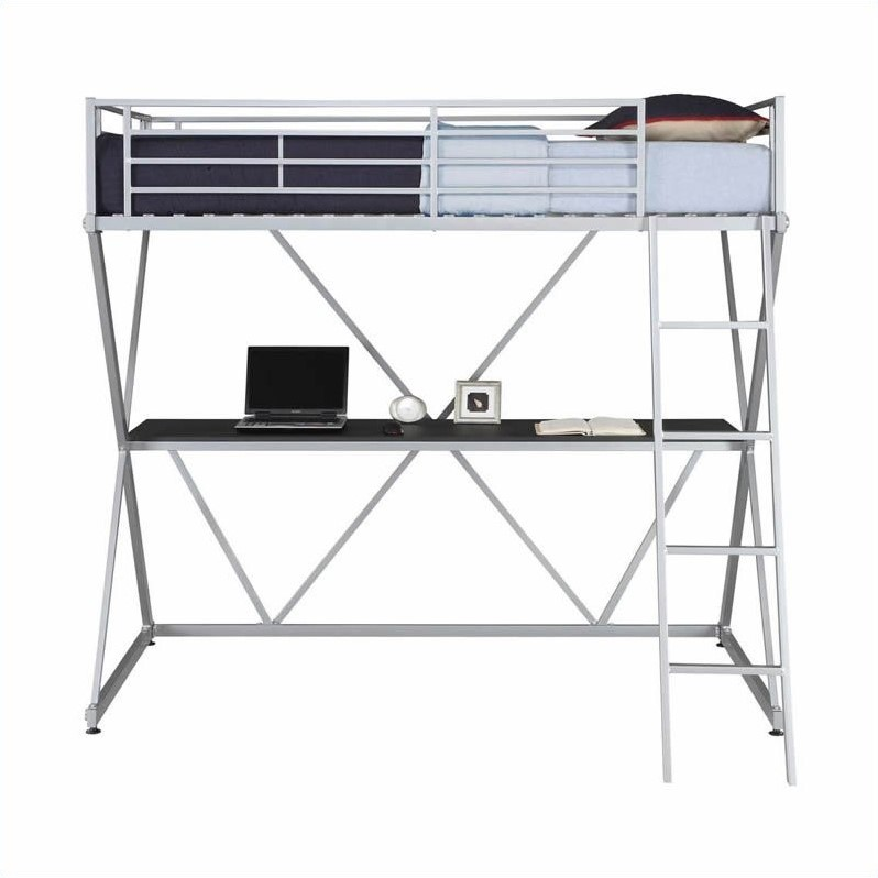 X Shaped Metal Twin Loft Bed In Silver With Desk 5440196