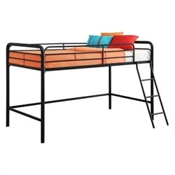 Metal Junior Metal Twin Loft Bed in Black