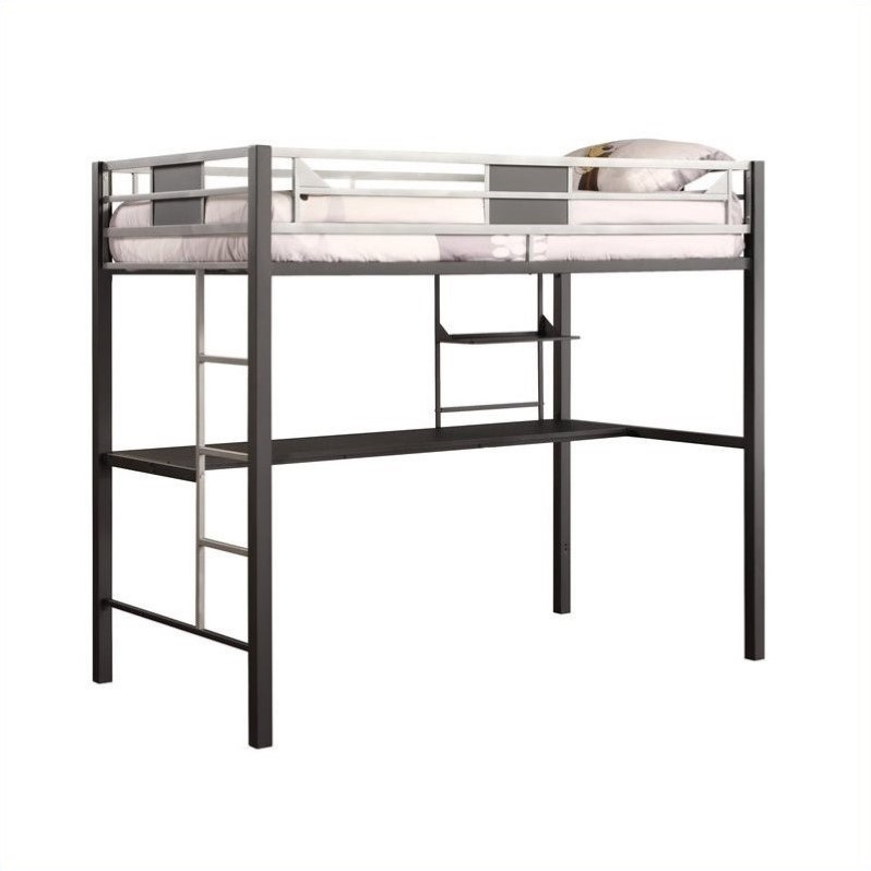 kids kids furniture bunk beds metal twin loft bed in black with desk