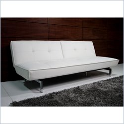DHP Revolution Belle Leather Convertible Sofa in White