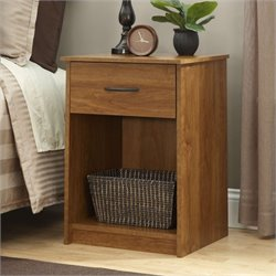 1 Drawer Wood Nightstand in Oak