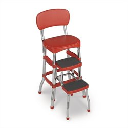 Red Retro Counter Chair with Pull Out Step Stool