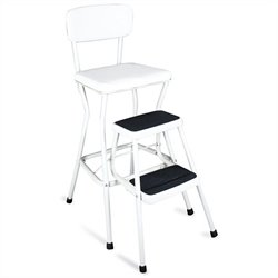 White Retro Counter Chair with Pull Out Step Stool