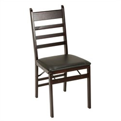 Wood Folding Chair in Espresso (Set of 2)