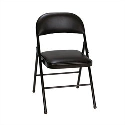 Vinyl Folding Chair in Black (4-pack)