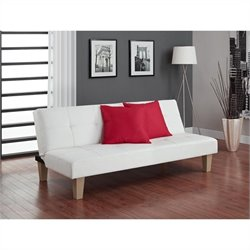 Faux Leather Convertible Sofa in White