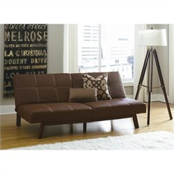 DHP Delaney Faux Leather Convertible Sofa in Brown