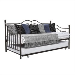 The Metal Frame Daybed and Trundle in Twin in Brown
