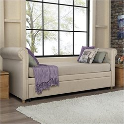 Upholstered Twin Daybed with Trundle in Tan