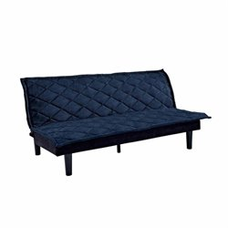 Tufted Upholstered Fold Down Futon in Royal Blue
