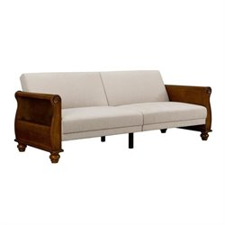Splitback Sofa Sleeper with Honeywood Arms with Beige Chenille