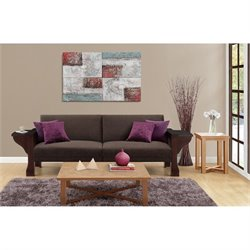 Splitback Sleeper Sofa with Mahogany Wood and Brown Chenille