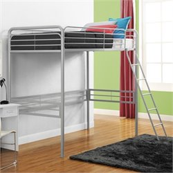 Metal Twin Loft Bed in Silver