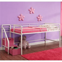 Metal Twin Loft Storage Steps Bed in White and Pink
