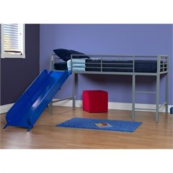 Metal Twin Loft Slide Bed in Silver and Blue